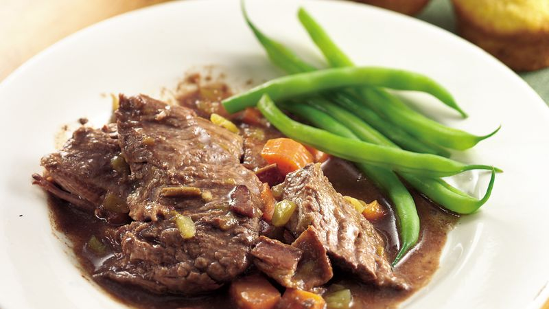 Slow-Cooker Beef Roast with Bacon-Chili Gravy