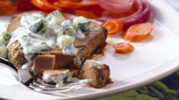 Marinated Tuna Steaks with Cucumber Sauce