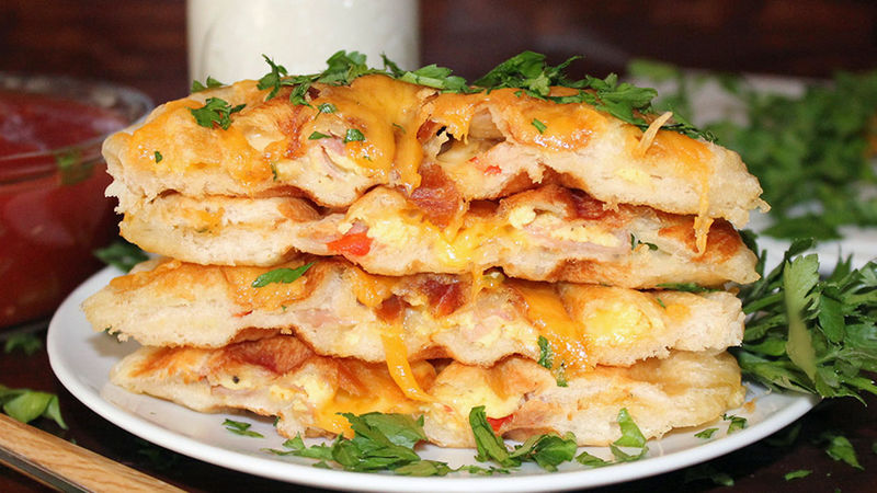 Western Omelet-Stuffed Biscuit Waffles