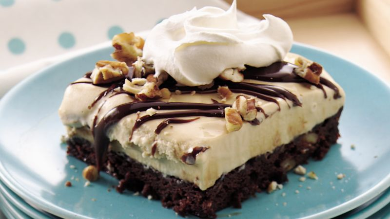 Turtle Brownie Ice Cream Dessert