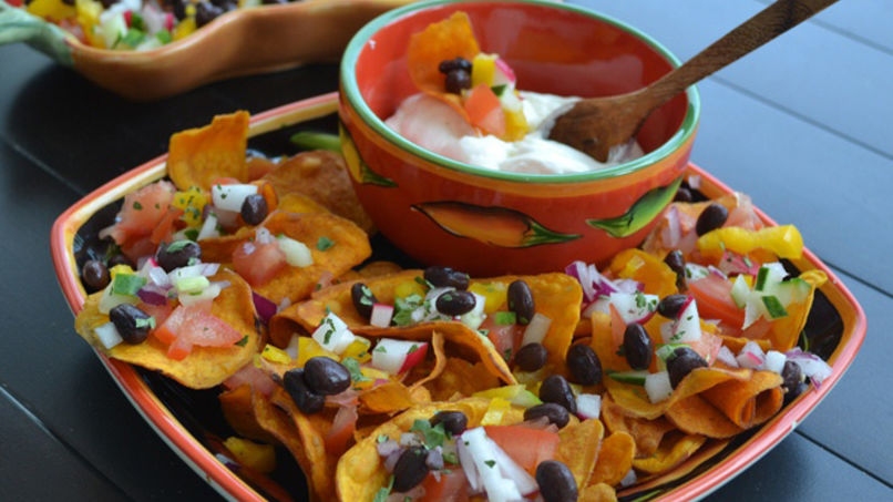 Sweet Potato and Black Bean Picadillo Nachos