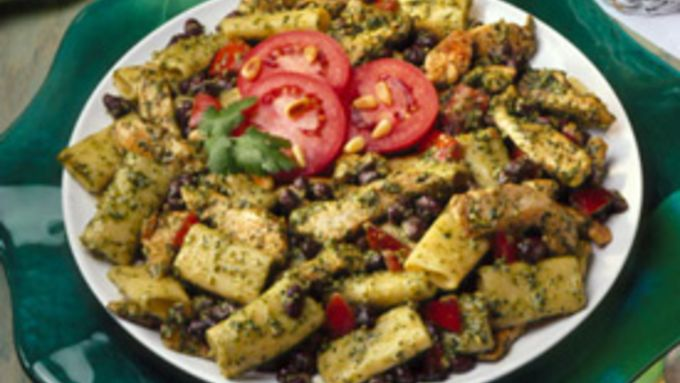 Black Bean-Chicken Salad with Creamy Cilantro Pesto Dressing