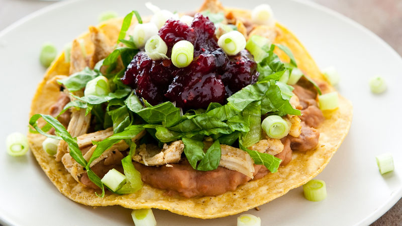 Turkey Tostadas with Cranberry Chipotle Sauce