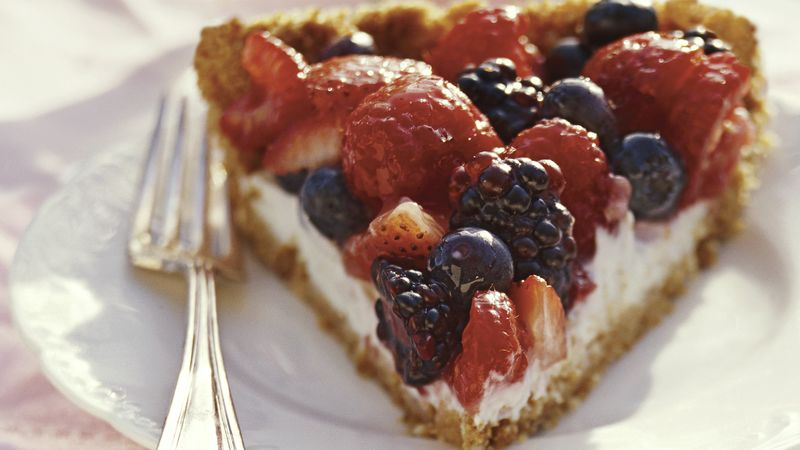Skinny Mixed Berry Pie with Lemon Cream