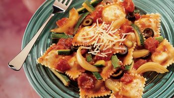 Ravioli with Tomatoes and Zucchini