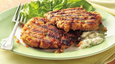 Tartar-Topped Grilled Salmon Burgers