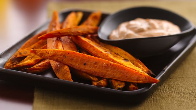 Sweet Potato Oven Fries with Spicy Sour Cream