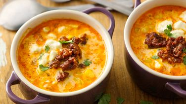 Sopa de Maíz Dulce con Chorizo y Queso fresco