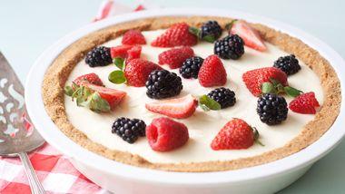 No-Bake Lemon Mousse Tart with Fresh Berries