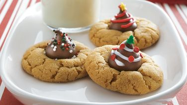 Festive Peanut Butter Blossom Cookies