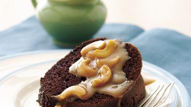 Fudge Cake with Cashew-Caramel Sauce