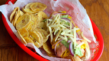 Colombian Hot Dogs with Avocado Sauce
