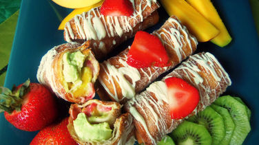 Sweet Chimichangas with Avocado Cream & Fruit