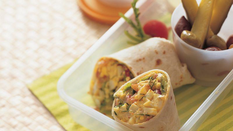 Dilled Shrimp and Egg Salad Wraps