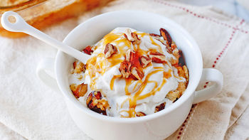 Caramel Apple Dump Cake with Spiced Whipped Cream