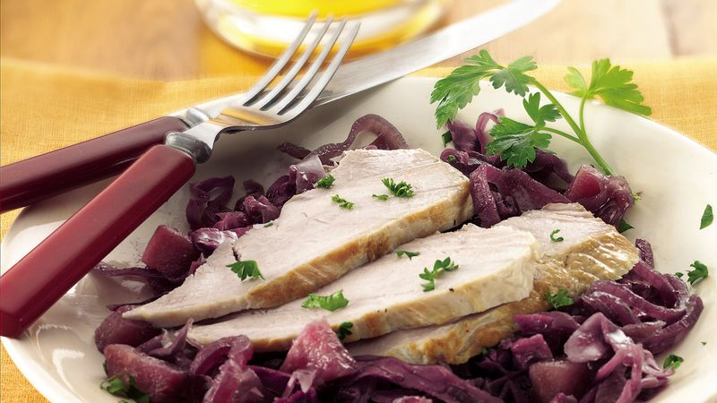 Slow-Cooker Pork with Sweet-Sour Red Cabbage