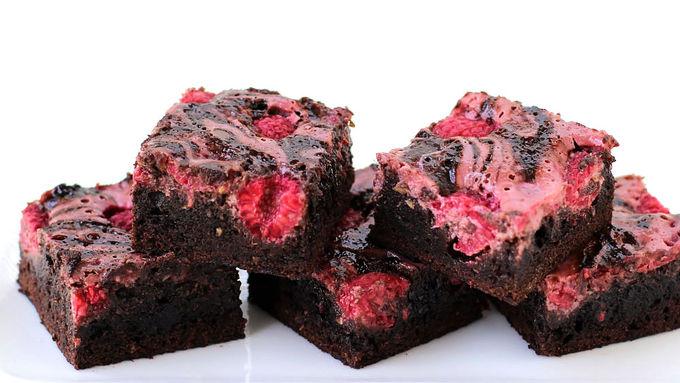 Raspberry Swirl Zucchini Brownies
