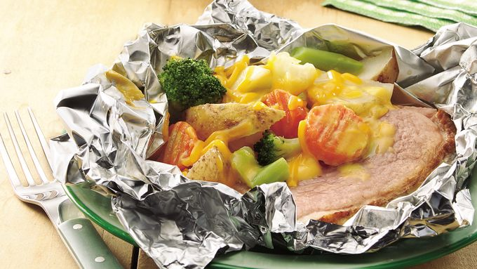 Grilled Cheesy Ham Supper Foil Packs