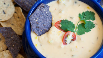Roasted Corn, Tomato and Garlic Queso