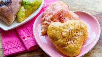 Mini Conversation Heart Pizza Calzones