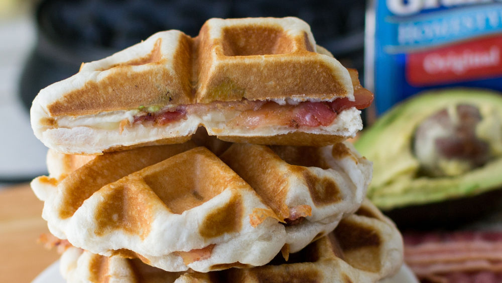 Grilled Cheese Waffles with Bacon and Avocado