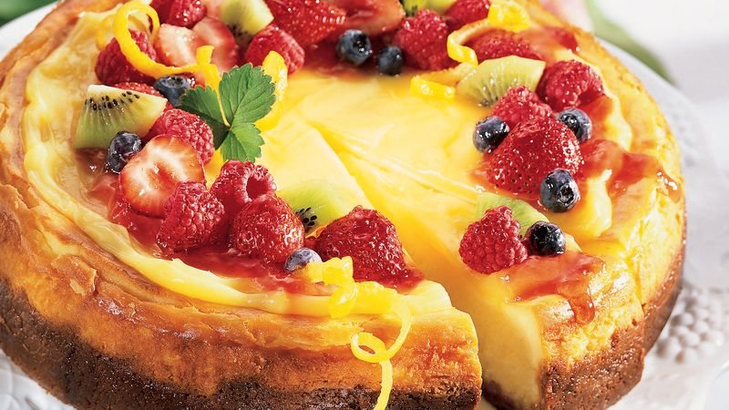 Lemon Chiffon Cheesecake with Fruit Topping