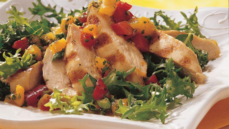 Apricot Salsa Grilled Chicken Salad