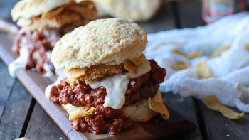 The Ultimate Chili Cheese Sauce Biscuit Burger