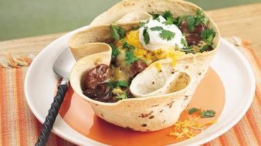 Black Bean-Chorizo Soup in Tortilla Bowls