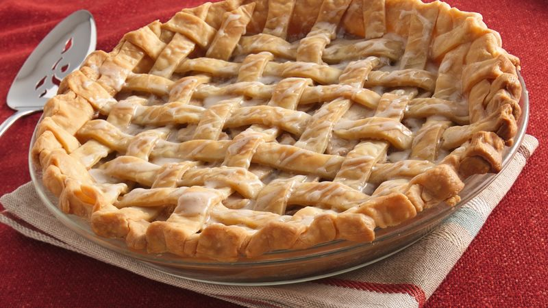 Brown Sugar-Cream-Apple Lattice Pie