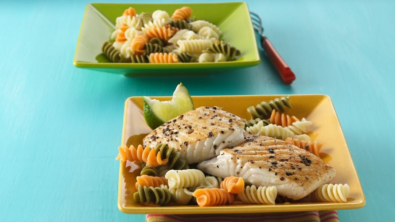 Pan-Roasted Halibut over Rotini recipe from Betty Crocker