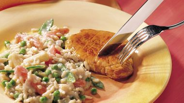Pork Chop Dinner with Rice and Veggies