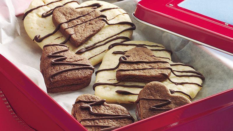 Chocolate-Almond Layered Hearts