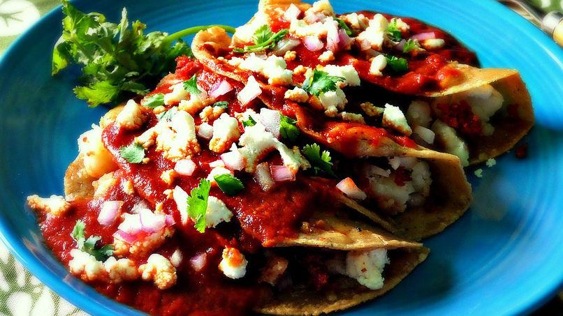 Potato Enchiladas with Chorizo