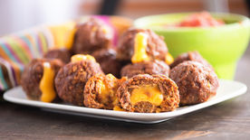 Cheese-Stuffed Taco Meatballs