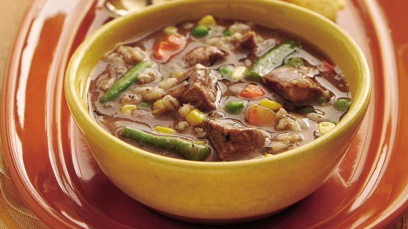 Slow-Cooker Beefy Vegetable-Barley Soup