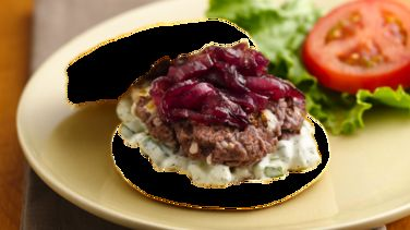 Caramelized Red Onion-Feta Burgers