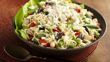 Lemony Orzo Two Bean Salad