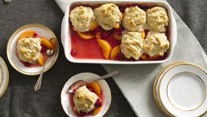 Peach and Raspberry Cobbler