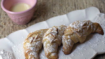 Raspberry-Almond Crescents with White Chocolate Sauce
