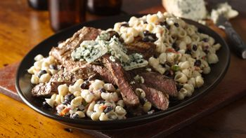 Black and Blue Pasta Salad with Steak