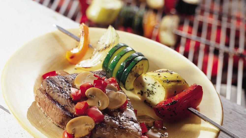 Grilled Steaks with Teriyaki Mushrooms