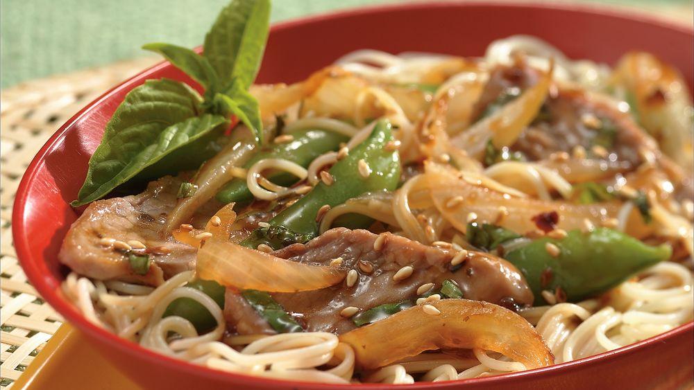 Basil-Pork and Asian Noodles