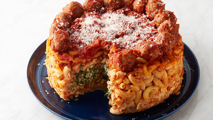 Spinach and Ricotta Macaroni Cheesecake