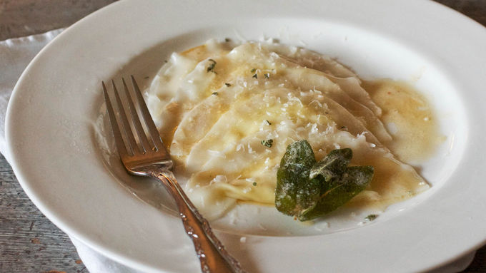 Pear and Pecorino Ravioli with Sage Butter Sauce