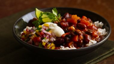 Three-Bean Chili and Rice