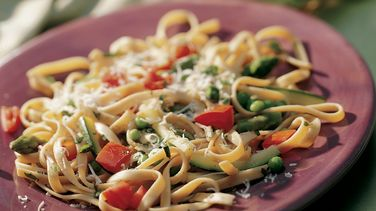 Whole Wheat Fettuccine with Spring Vegetables
