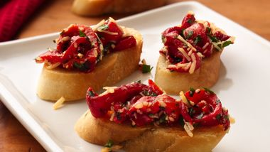 Roasted Red Bell Pepper Bruschetta