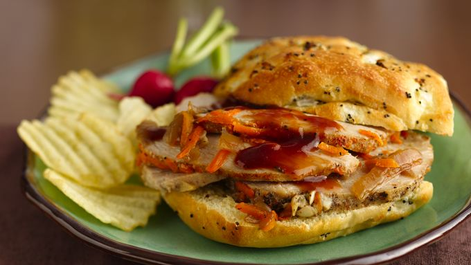 Slow-Cooker Sliced Pork BBQ Sandwiches
