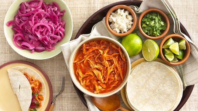 Red Chile Shredded Chicken for Tacos